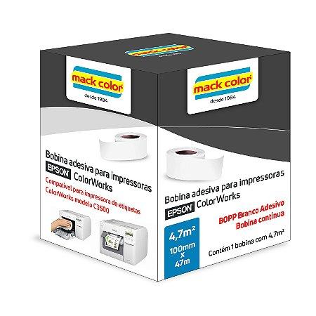 Bobina adesiva BOPP contínua para EPSON ColorWorks 100mm x 47m