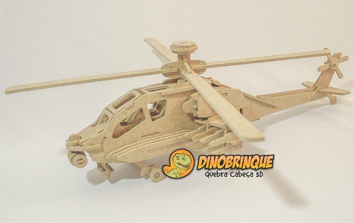 Helicóptero Apache  - Quebra cabeça 3D 75 Peças