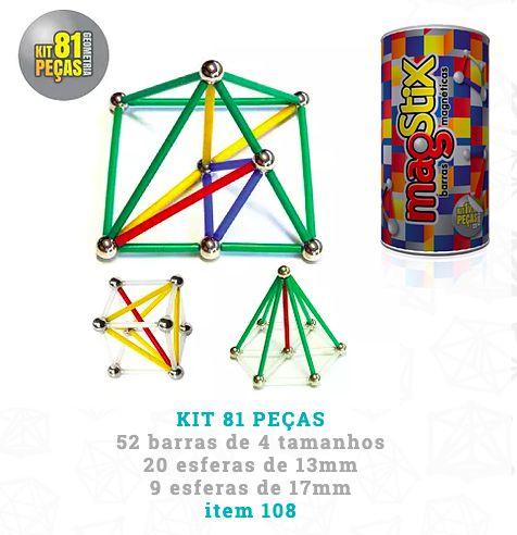 Brinquedo Magnético - Kit geometria 81 peças (5 anos +)