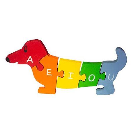 Quebra Cabeça Cachorro com Vogais e Números