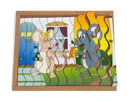 Quebra-Cabeca com Pinos modelo Ratos com 12 pcs