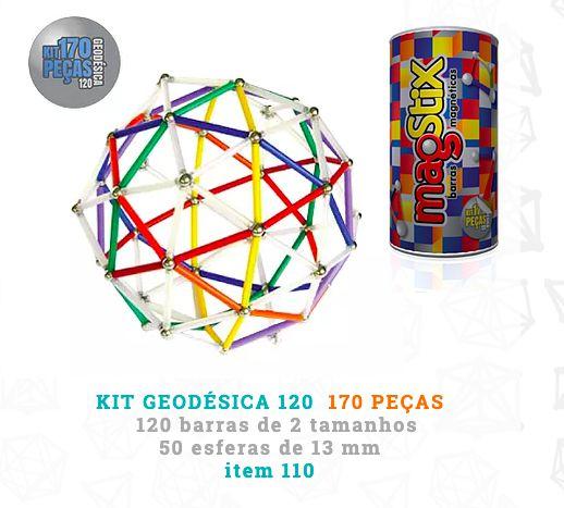 Barras Magnéticas - Kit Geodésica 170 Peças (5 anos+)