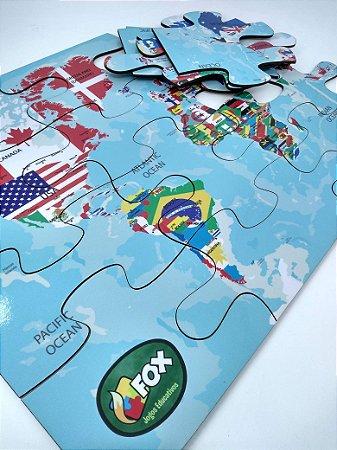 Quebra-cabeça Grande em Madeira Mapa Mundi Inglês (3anos+)