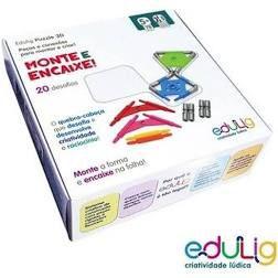 Quebra-cabeça Puzzle Monte Encaixe 78 peças, conexões e gabaritos - 6 cores (5 anos+)