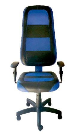 Cadeira Gamer em Corano Preto e Azul Escuro com base giratória preta
