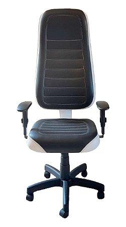 Cadeira Gamer em Corano Preto e Branco com base giratória preta