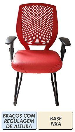 Cadeira de escritório Diretor vermelho intenso com encosto plástico e base fixa ou giratória