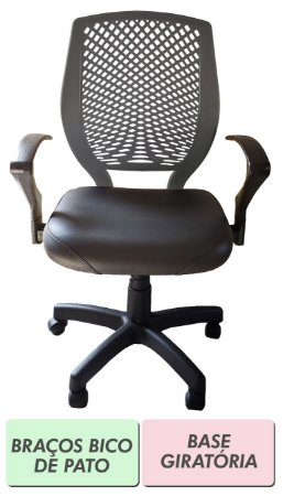 Cadeira de escritório Diretor preto e cinza-escuro com encosto plástico e base fixa ou giratória
