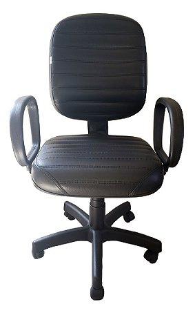 Cadeira de escritório Diretor com costura em formato listra total e base giratória preta