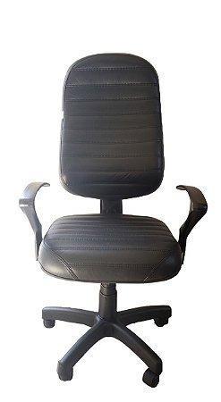 Cadeira de escritório Presidente com costura em formato listra total e base giratória preta