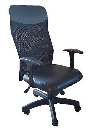 Cadeira de escritório Presidente Anatômica com encosto de Tela e base giratória