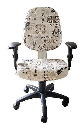 Cadeira de escritório Digitador 650 com estampa England e base giratória
