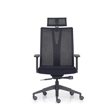 Cadeira de escritório Presidente Addit com encosto em tela e base backsystem