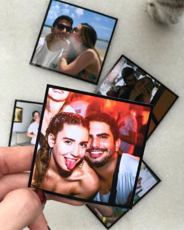 15 Fotos Magnéticas 5x5 Borda Preta