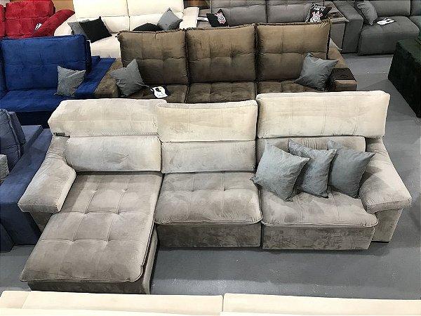 Sofa Retrátil Com Encosto Reclinável Gramado Cinza (Cód. 0028)