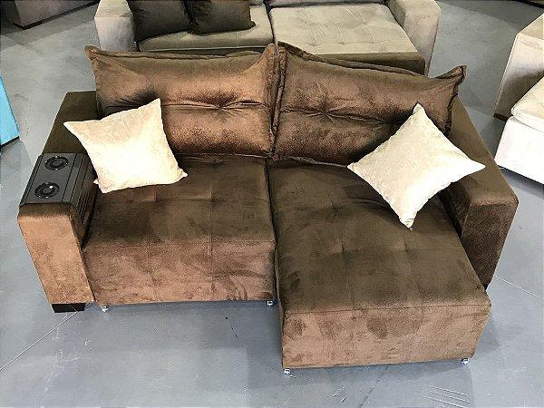 Sofa Retrátil Com Encosto Reclinável Marrom