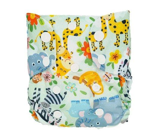 Safari Divertido - Recém Nascido - Mari Fraldas - Pull - Pocket - Interior em dry-fit