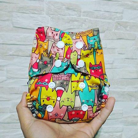 Gatinhos Coloridos - Recém Nascido - Mari Fraldas - Pull - Pocket - Interior em dry-fit