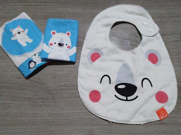Urso - Kit toalhinhas de boca = babador - Pele a Pele