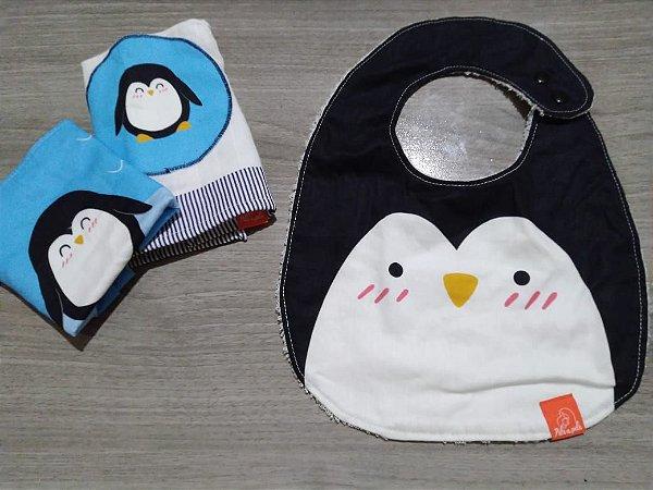 Pinguim - Kit toalhinhas + Babador - Pele a Pele