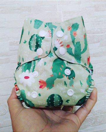 Cactos Verde - Recém Nascido - Mari Fraldas - Pull - Pocket - Interior em dry-fit
