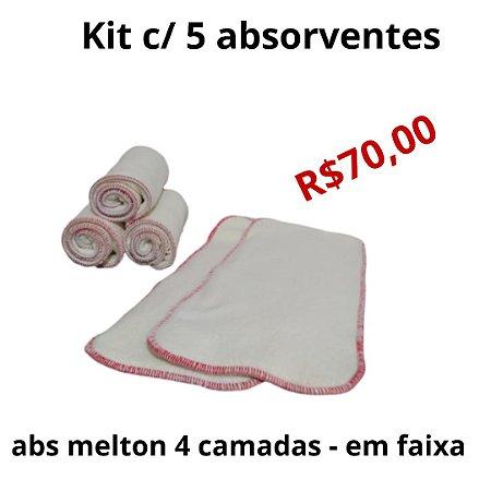kit 5 absorventes - Melton 4 camadas - Abs em faixa
