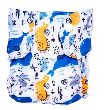 Animais Marinhos - Recém Nascido - Mari Fraldas - Pull - Pocket - Interior em dry-fit