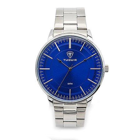 9c22a0ff74e Relógio Masculino Tuguir Analógico 5000 Prata e Azul - ROMAPLAC