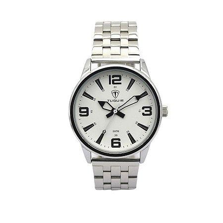 ebc8ed89e0d Relógio Masculino Tuguir Analógico 5054 Prata e Branco - ROMAPLAC