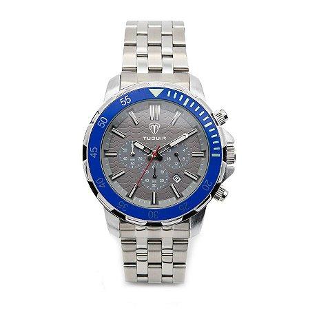 8fcdaaf0143 Relógio Masculino Tuguir Analógico 5008 Prata e Azul - ROMAPLAC