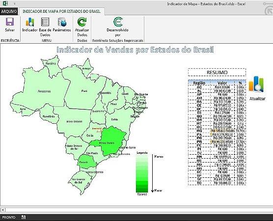 Planilha de Indicador de Mapa - Estados do Brasil