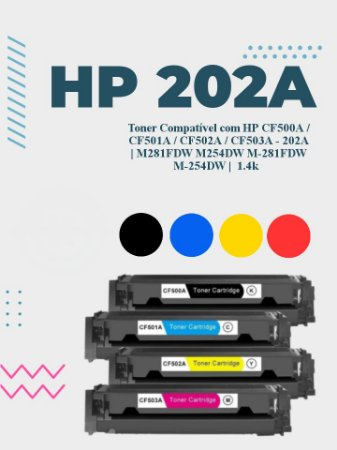 HP CF500A, CF501A, CF502A E CF503A 202A   M281FDW M254DW M-281FDW M-254DW