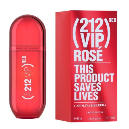 PERFUME CAROLINA HERRERA 212 VIP ROSÉ RED FEMININO  EAU DE PARFUM 80 ML LIMITED EDITION