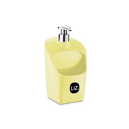 Porta Detergente Amarelo Claro Solido com Válvula Metalizado de Plastico UZ