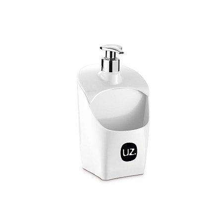 Porta Detergente Branco Solido Com Válvula Metalizado de Plastico UZ