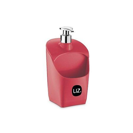 Porta Detergente Vermelho Solido com Válvula Metalizado de Plastico UZ