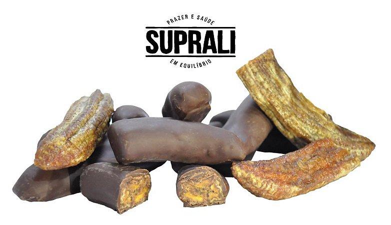 Banana passa banhada em chocolate 70% cacau (200g)