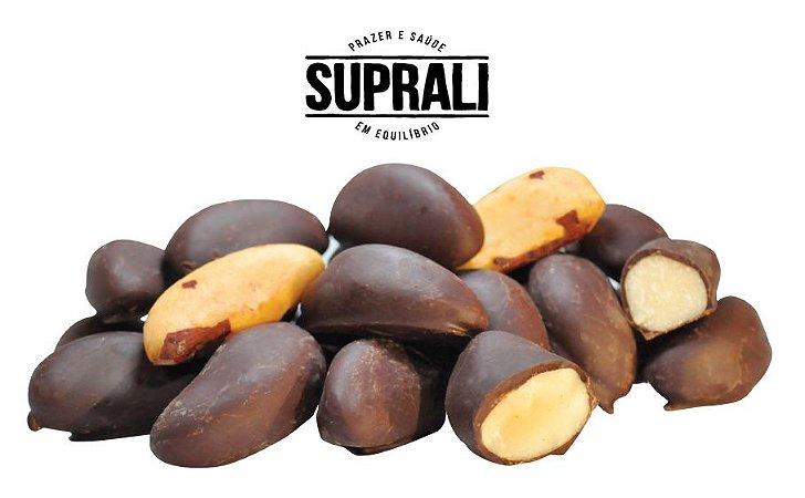 Castanhas do Pará drageadas em chocolate 70% cacau (200g)