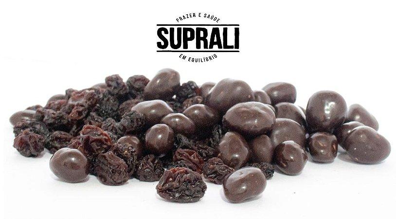 Uvas-passas drageadas em chocolate 70% cacau (200g)
