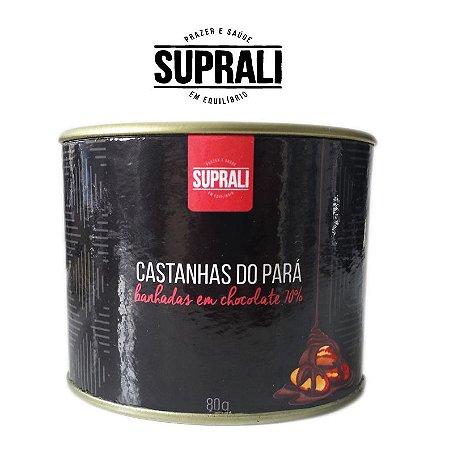 Lata castanhas do Pará drageadas em chocolate 70% cacau (80g)