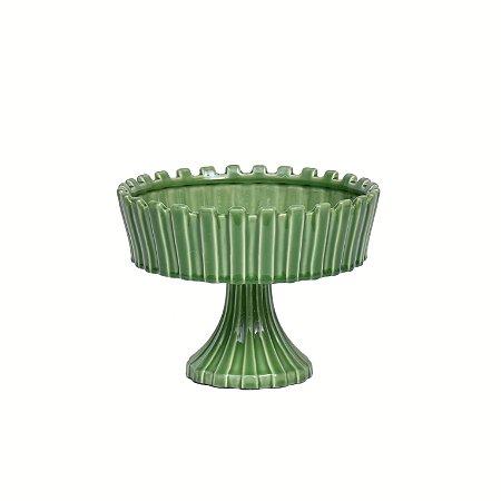 Travessa Cerâmica Verde com Base