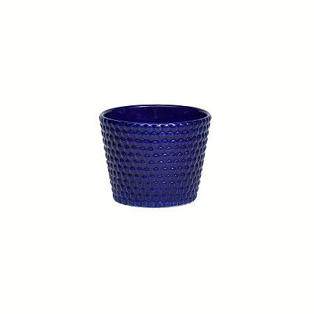 Vaso Cerâmica Poá Azul Big