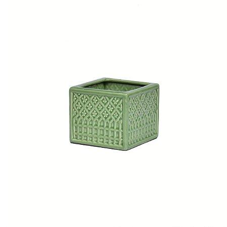 Vaso Cerâmica Quadrado Mini Flores Verde