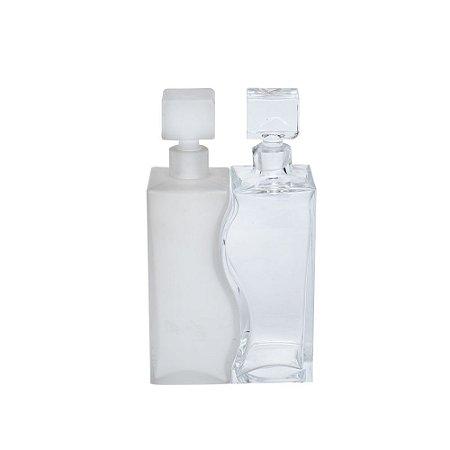 Conjunto 2 garrafas vidro decorativas com tampa (pequeno defeito)