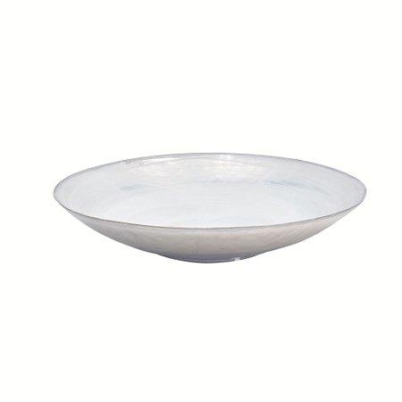 Centro decorativo vidro cor branco com prata