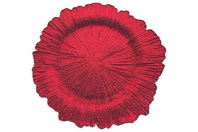 Sousplat vidro vermelho borda irregular