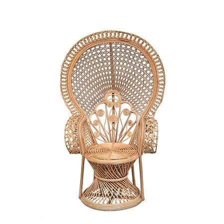 Cadeira de ratan encosto redondo