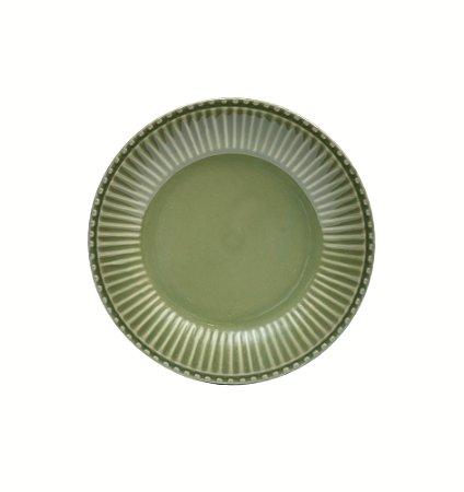 Prato de sobremesa em louça verde 21 cm