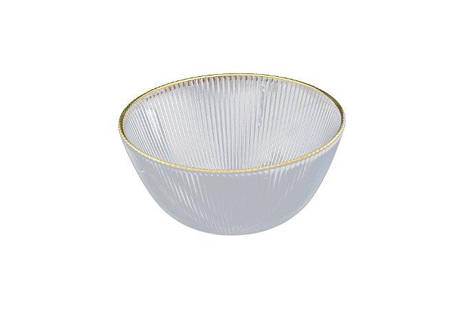 Bowl saladeira em vidro borda ouro 16 cm