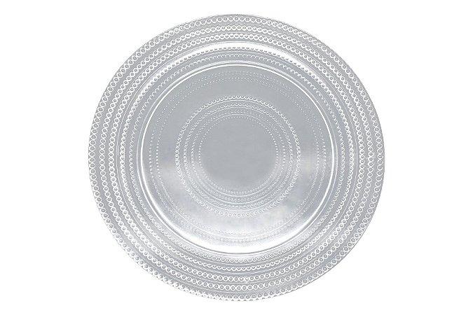Sousplat vidro Dots incolor 33 cm